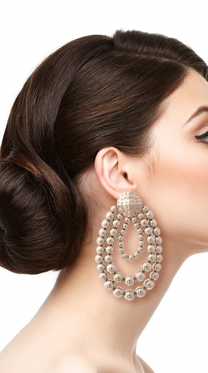 Katrena Silver Ball Drape Earrings