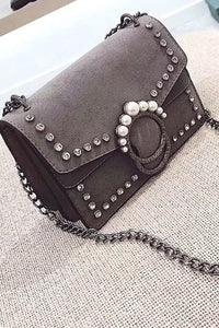 KoKo Gray Pearl Studded Crossbody