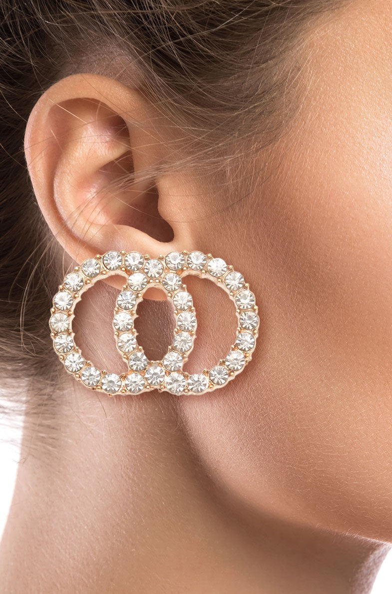 Krstal CZ Infinity Stud Earrings
