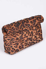 Kensley Leopard Print Roll-up Clutch/Crossbody