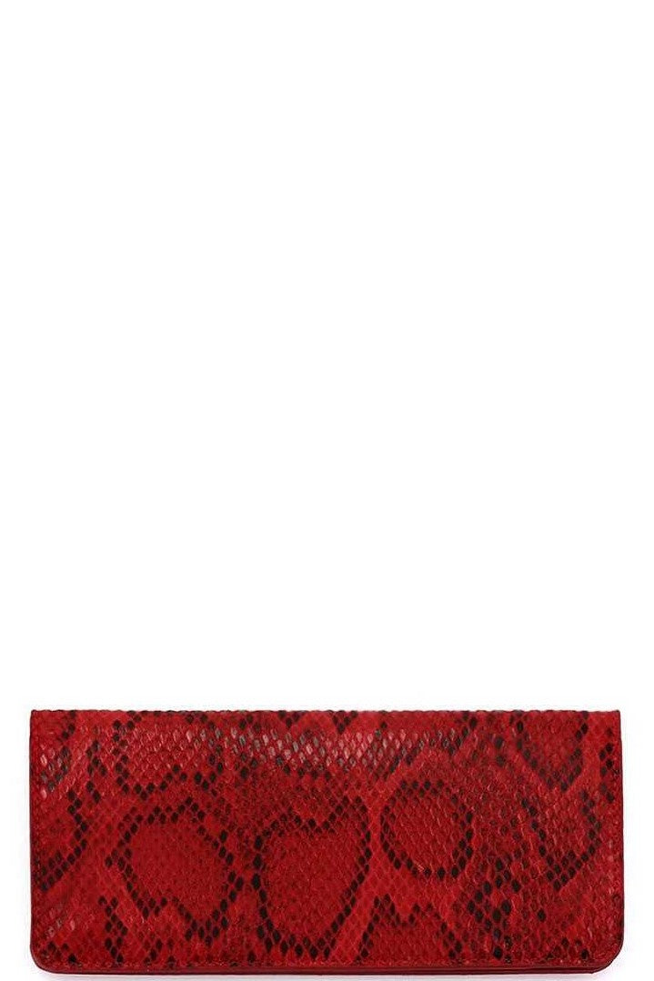 Kelly Scarlet Red Snake Skin Wallet
