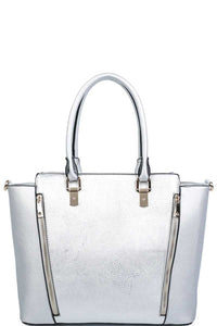 Kelli Metallic Gray Satchel