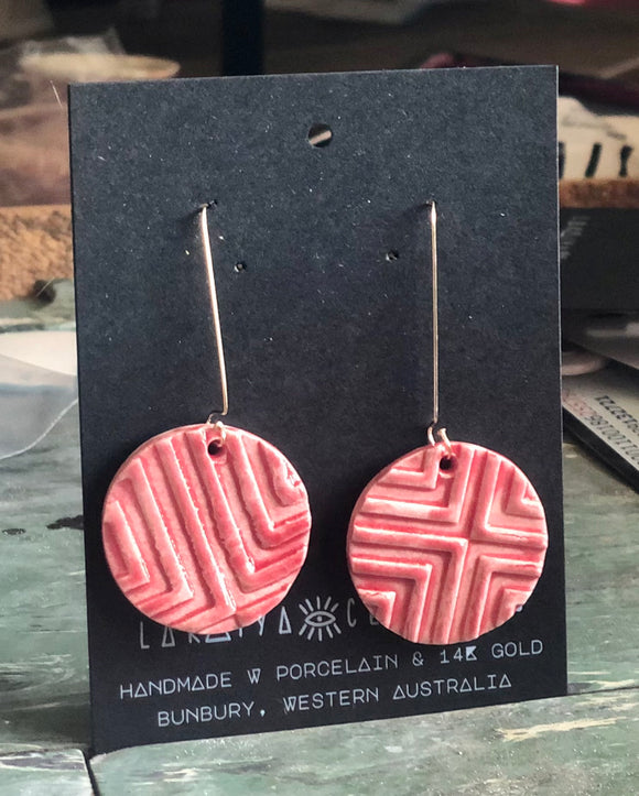 Raspberry Geo Earrings