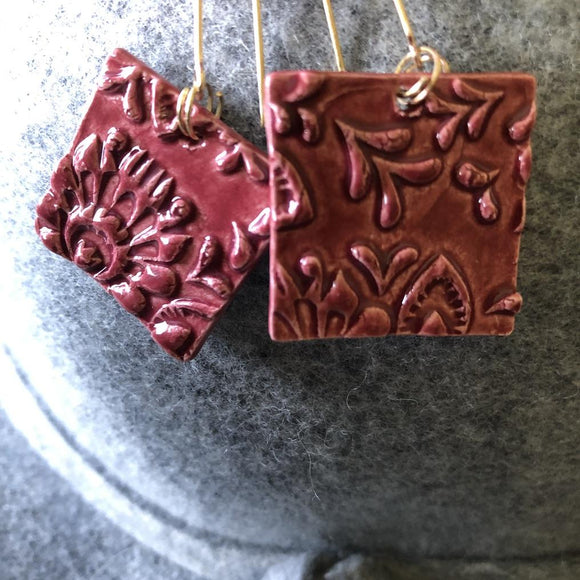 Wine porcelain square pressed tin look earrings