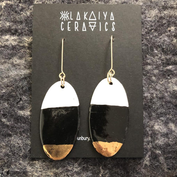 Porcelain oval earrings white black and gold