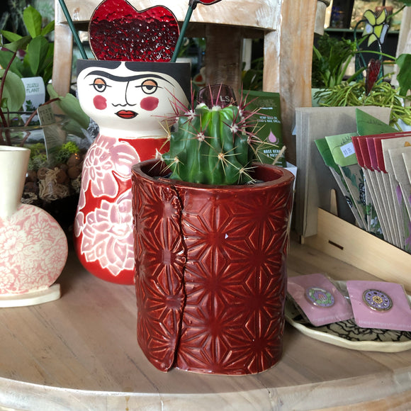 Japanese star pot - brick red