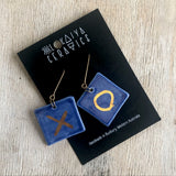 Porcelain earrings square cobalt gold x o