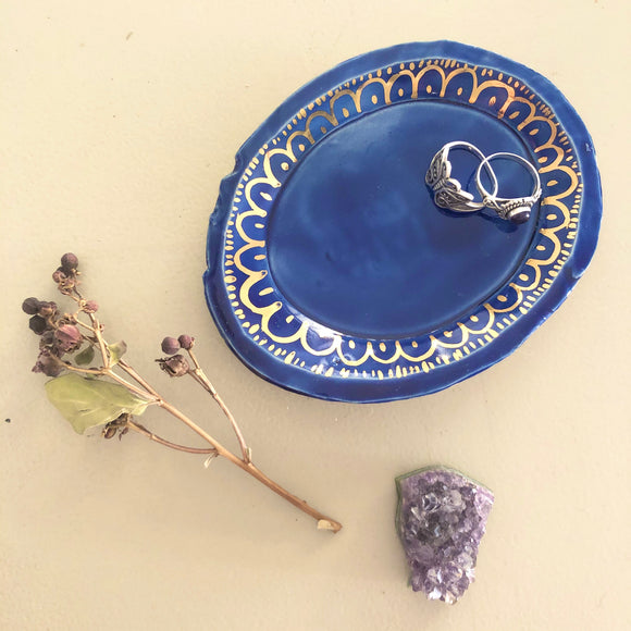 Cobalt and gold trinket dish