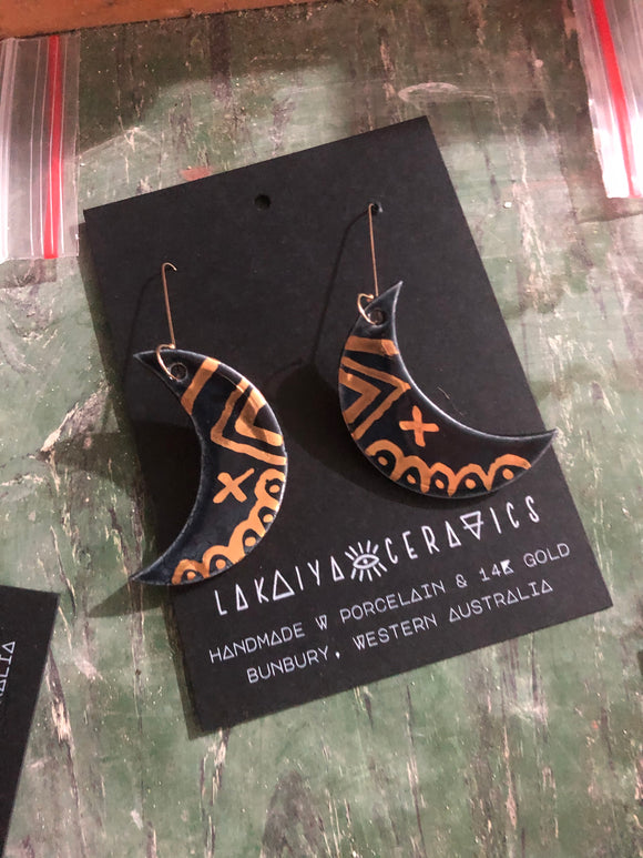 Black Magic Moon Earrings