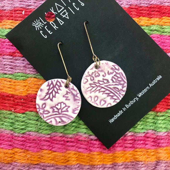 Lilac and white paisley earrings