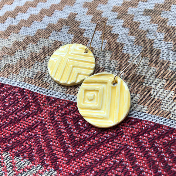 Yellow Geo Earrings