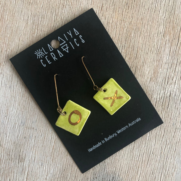 Porcelain earrings small square lime x o