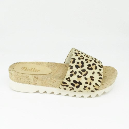SANDAL SLIDE TOOTH WEDGE - CAMEL/LEOPARD