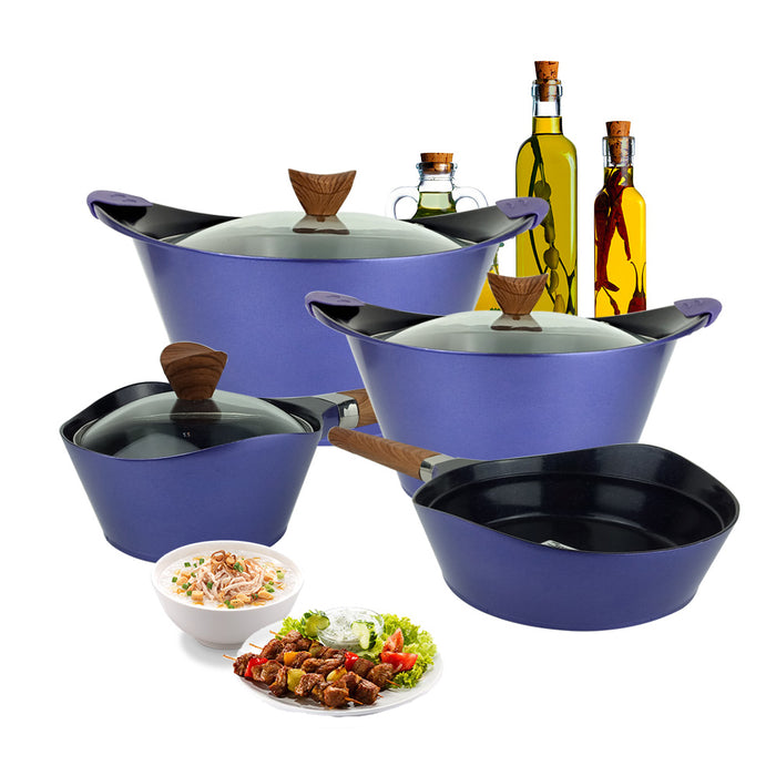 19 Pieces Western Style Granite Cookware Set Purple MGC