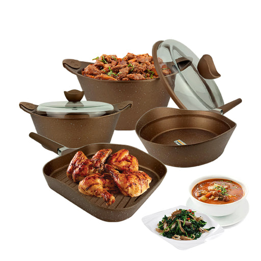 16 Pieces Granite Cookware Set Copper MGC