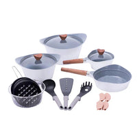 19 Pieces Western Style Granite Cookware Set White MGC
