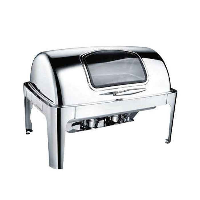 9 Litre Rectangular Roll-Top Chafing Dish With Glass Lid CF-0723GL