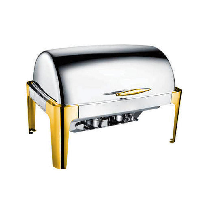 9 Litre Rectangular Roll-Top Chafing Dish (Golden Leg & Handle) HM-0723GT