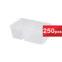 122 mm 250 pcs Microwavable Rectangular 2 Compartments Container FR 750-2C (1 Carton)