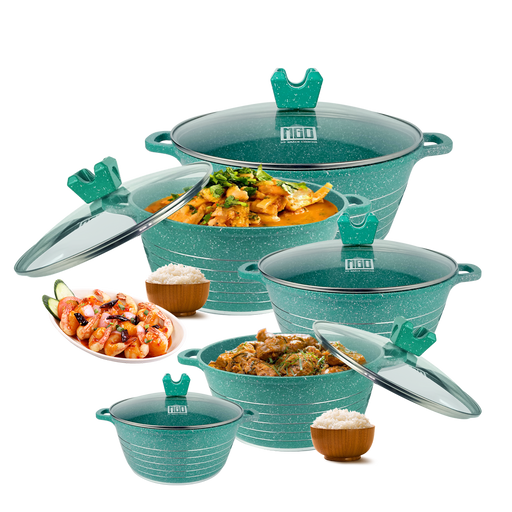 10 Pieces Green Casserole Granite Non-Stick Cookware Set MGC