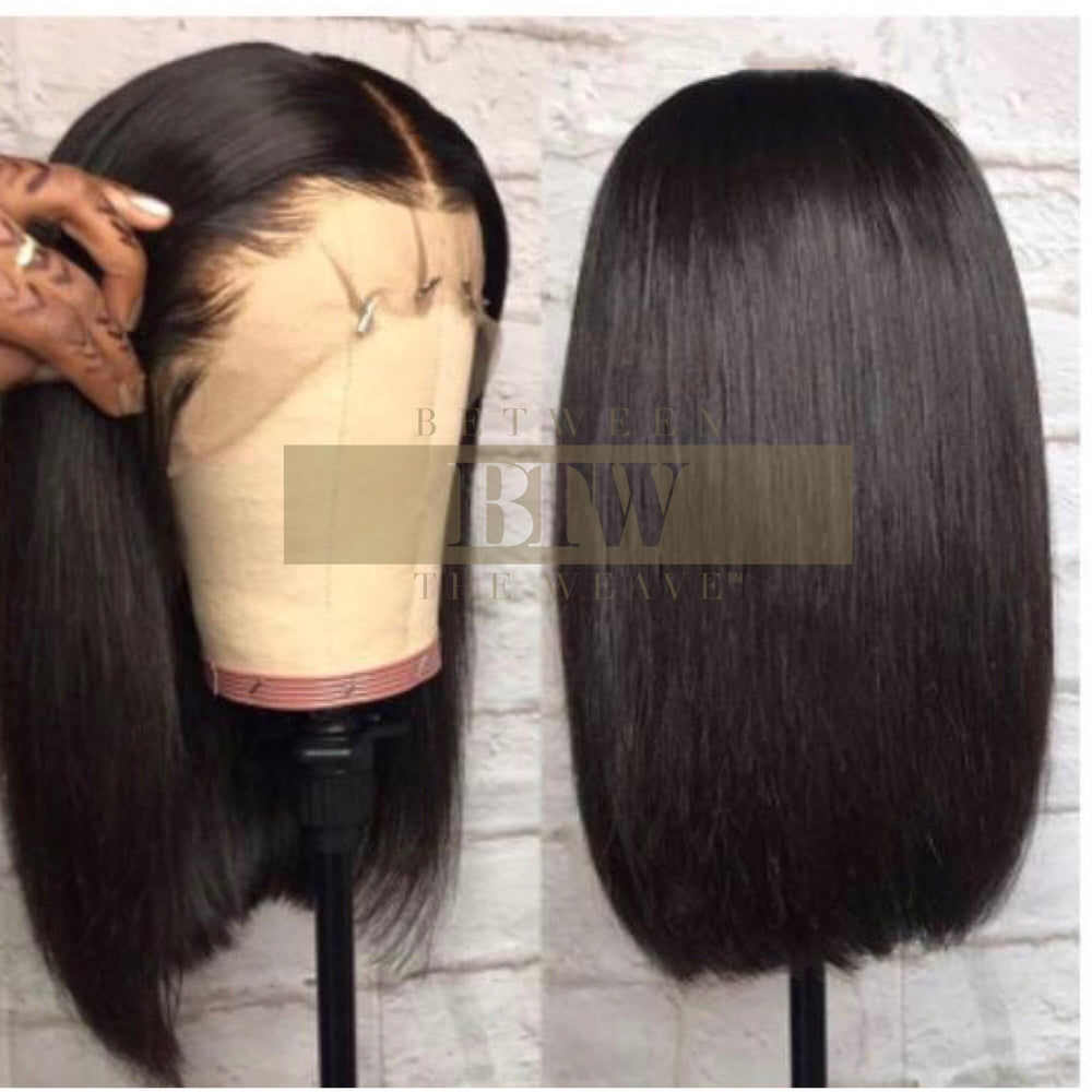 STRAIGHT -NATURAL BROWN Lace FRONTAL BOB WIG