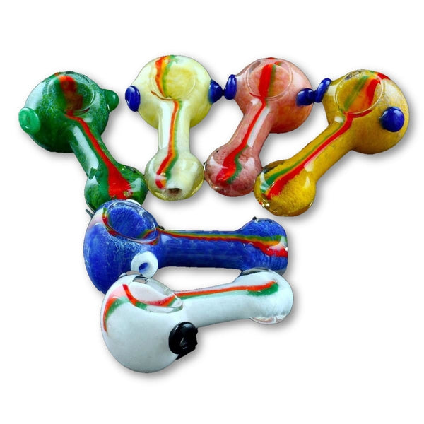 4 Solid Color Frit Hand Pipe With Red And Green Stripe - Hand Pipes