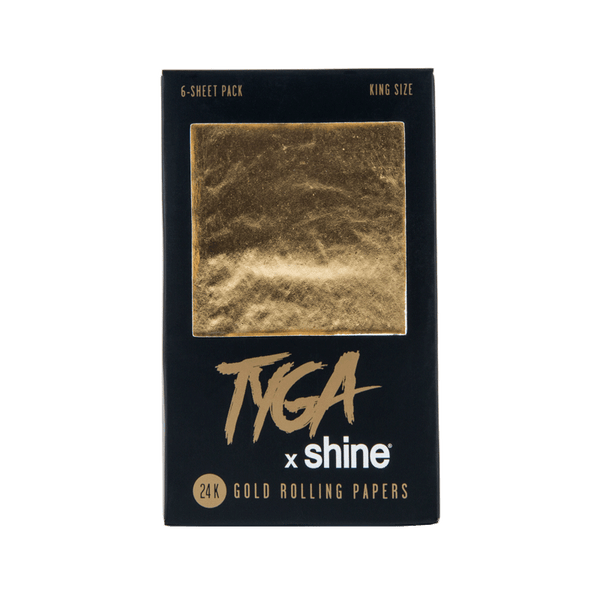 Shine x TYGA King Size 24K Gold Rolling Papers - 6 Per Pack