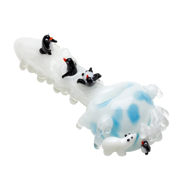 Empire Glassworks Icy Penguins Spoon Pipe - Hand Pipes