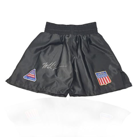 Mike Tyson Hand Signed Black Trademark 'USA' Boxing Shorts
