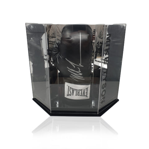 Mike Tyson Hand Signed Black Everlast Boxing Glove in Deluxe Hexagonal Display Case
