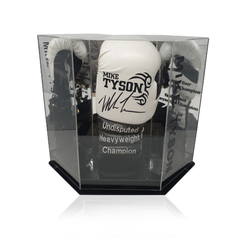 Mike Tyson Hand Signed Black/White 'Trademark Tattoo' Boxing Glove in Deluxe Hexagonal Acrylic Display Case