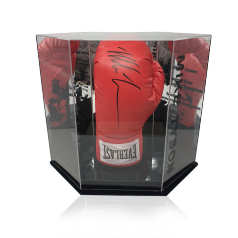 Mike Tyson Hand Signed Red Everlast Boxing Glove in Deluxe Hexagonal Display Case