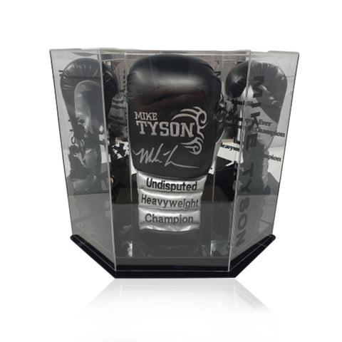Mike Tyson Hand Signed Black/Silver 'Trademark Tattoo' Boxing Glove in Deluxe Hexagonal Acrylic Display Case