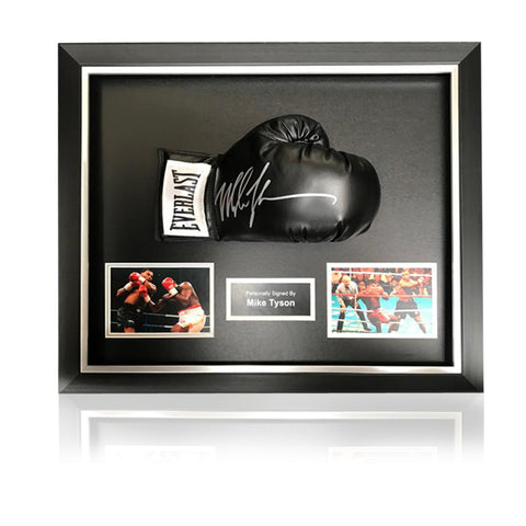 Mike Tyson Hand Signed Black Everlast  Glove in Deluxe Classic Acrylic Dome Frame