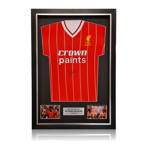 Kenny Dalglish Front Signed Crown Paints 1982 Liverpool Home Shirt In Deluxe Classic Frame