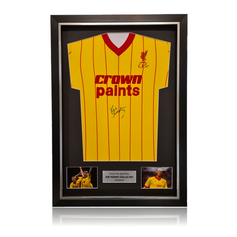 Kenny Dalglish Front Signed Crown Paints 1982 Liverpool Away Shirt In Deluxe Classic Frame