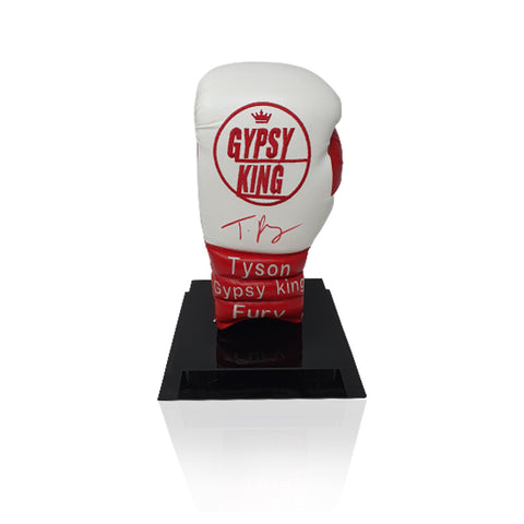Tyson Fury Signed 'Gypsy King' Red/White Boxing Glove in Acrylic Display Case