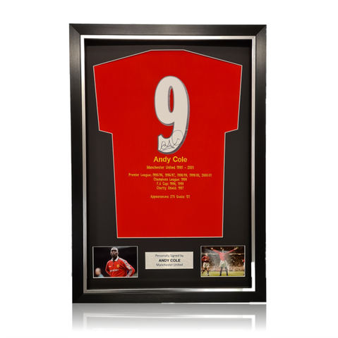 Andy Cole Hand Signed #9 Career Honours Shirt in Deluxe Classic Frame