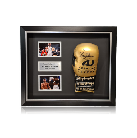 Anthony Joshua Signed 'AJ' Gold/Black Boxing Glove in Deluxe Classic Dome Frame