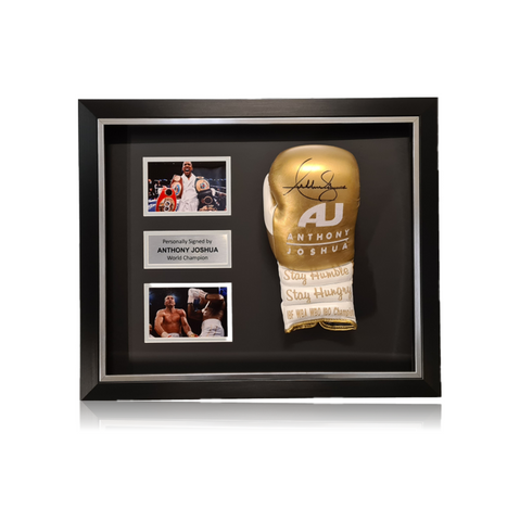 Anthony Joshua Signed 'AJ' Gold/White Boxing Glove in Deluxe Classic Dome Frame