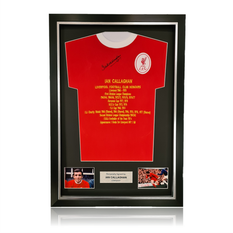 Ian Callaghan Hand Signed 1963 Honours Shirt in Deluxe Classic Frame