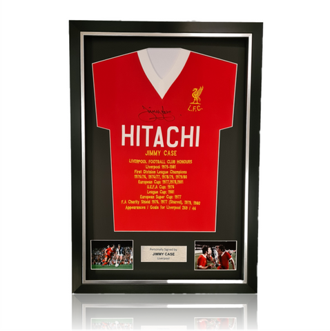Jimmy Case Hand Signed HITACHI Honours Shirt in Deluxe Classic Frame