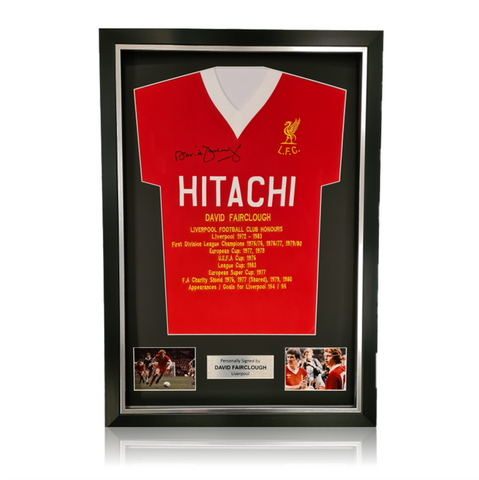David Fairclough Hand Signed HITACHI Honours Shirt in Deluxe Classic Frame