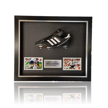 Paul Gascoigne Hand Signed Adidas KAISER Football Boot in Deluxe Classic Dome Frame