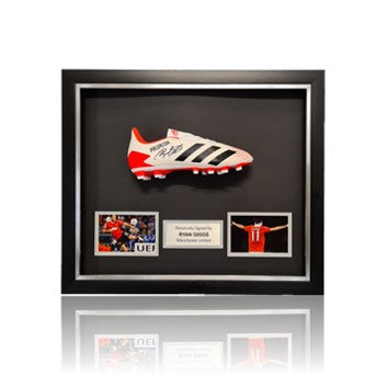 Ryan Giggs Hand Signed Adidas Football Boot in Deluxe Classic Dome Frame