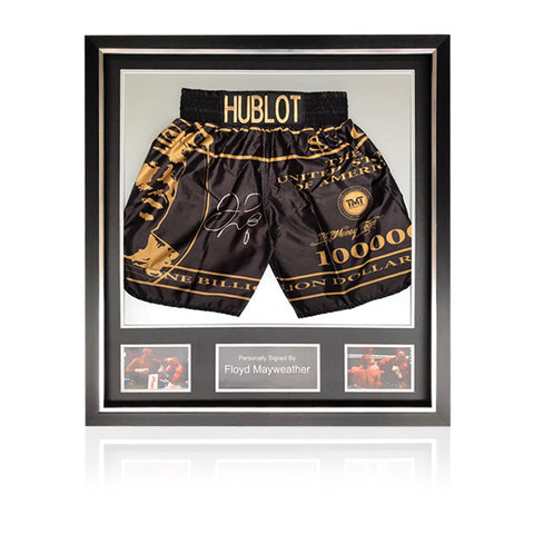 Floyd Mayweather Hand Signed - 'McGregor' Fight Replica Shorts In Deluxe Classic Frame