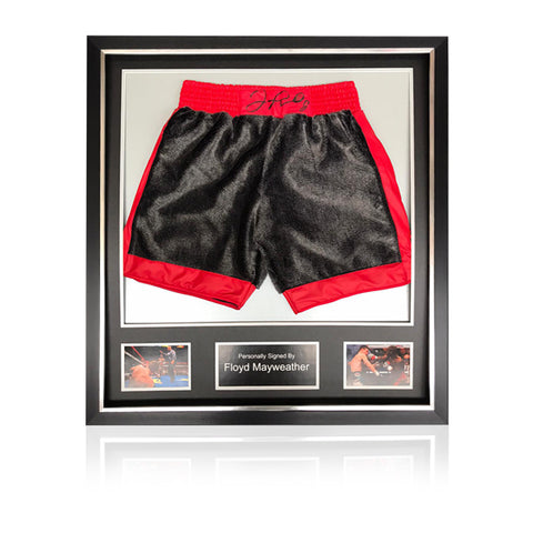 Floyd Mayweather Hand Signed - 'Hatton' Fight Replica Shorts In Deluxe Classic Frame