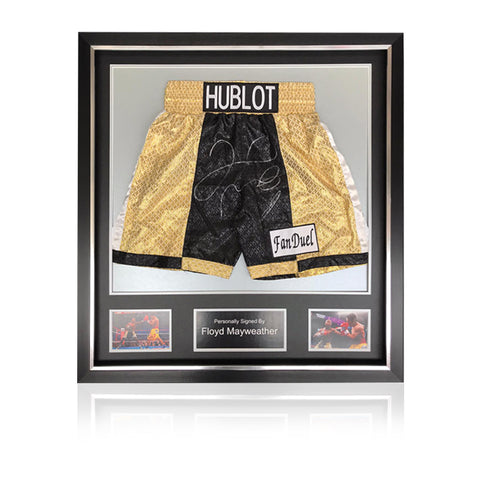 Floyd Mayweather Hand Signed - 'Pacquiao' Fight Replica Shorts In Deluxe Classic Frame