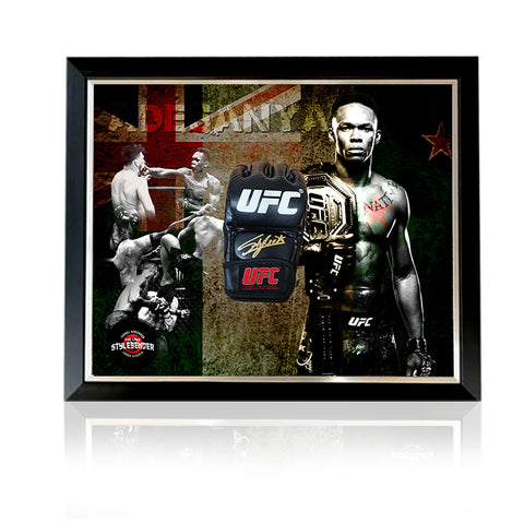 Israel 'The Last Stylebender'Adesanya Black Hand Signed MMA Glove in Deluxe Classic Dome Frame