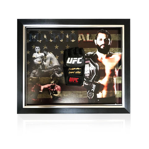 Jorge Masvidal 'BMF' Black Hand Signed MMA Glove in Deluxe Classic Dome Frame